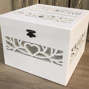 Szíves nászajándék gyűjtő doboz, Esküvő, Emlék & Ajándék, Doboz, Festett tárgyak, Famegmunkálás, Kedves nászajándékgyűjtő dobozka minden esküvőn jól mutat. , Meska