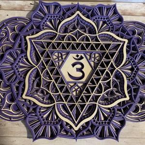 Mandala csakra - Homlokcsakra, Ajna, Otthon & Lakás, Dekoráció, Falra akasztható dekor, Famegmunkálás, Festett tárgyak, Meska