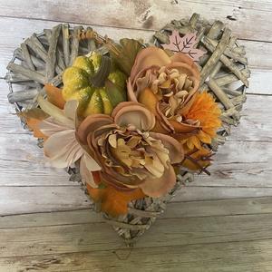 Őszi szivecske kopogtató, Otthon & Lakás, Dekoráció, Ajtódísz & Kopogtató, Virágkötés, Meska