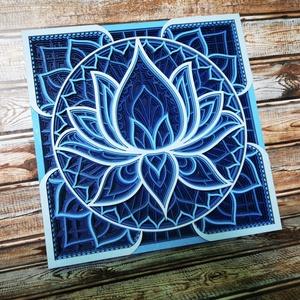 Mandala lótusz virág, kék, Otthon & Lakás, Dekoráció, Falra akasztható dekor, Famegmunkálás, Festett tárgyak, Meska