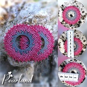 Rózsakör fülbevaló , Ékszer, Fülbevaló, Ékszerkészítés, Gyöngyfűzés, gyöngyhímzés, Ez a rózsaszínmetál karika fülbevaló\n* a bizsu akasztóval együtt \n* 5 x 7 cm \n* egy 2cm átmérőjű fém..., Meska