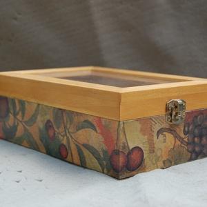 Gyümölcsös teás doboz üveg tetővel - otthon & lakás - konyhafelszerelés - tea & kávé tárolás - Meska.hu