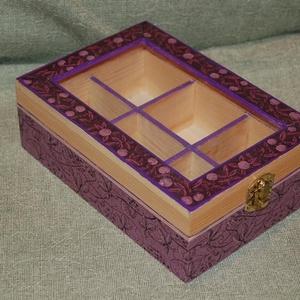 Teásdoboz lila, Otthon & Lakás, Tárolás & Rendszerezés, Doboz, Decoupage, transzfer és szalvétatechnika, Ez a 6 rekeszes teás doboz tömör fenyőből készült, melyet decoupage technikával díszítettem. A doboz..., Meska