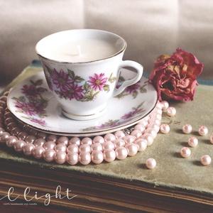 Flower csésze gyertya 60 ml, Otthon & Lakás, Dekoráció, Gyertya & Gyertyatartó, Gyertya-, mécseskészítés, Valódi teázás illatélménye a meghitt, nyugodt pillanatokért.\n\n100% természetes szójaviasz, -illatola..., Meska