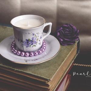 Violet csésze gyertya 75 ml, Otthon & Lakás, Dekoráció, Gyertya & Gyertyatartó, Gyertya-, mécseskészítés, 100% természetes szójaviasz, -illatolajok valamint pamut kanóc felhasználásával készült szójagyertya..., Meska