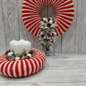 Candy cane amerikai cukorka hatású dekoráció szett, Karácsonyfadísz, Karácsony & Mikulás, Otthon & Lakás, Kötés, Mindenmás, Piros-fehér fonalból kötöttem az az alapot, kicsit az amerikai sétapálca nyalókát idézve. Termésekke..., Meska