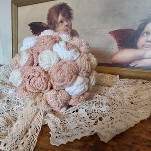 Vintage horgolt rózsacsokor, menyasszonyi csokor, Esküvő, Menyasszonyi- és dobócsokor, Horgolás, Mindenmás, Meska