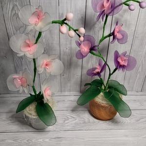 Harisnyavirág orchidea, Férfiaknak, Otthon & lakás, Dekoráció, Lakberendezés, Asztaldísz, Csokor, Mindenmás, Harisnyavirág orchideákat készítettem fehér-rózsaszín és lila-rózsaszínben. \n5db virág van mindkettő..., Meska
