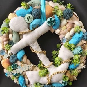 Az óceán mélyén, nyári ajtódísz, Otthon & Lakás, Ajtódísz & Kopogtató, Dekoráció, Újrahasznosított alapanyagból készült termékek, Varrás, Meska