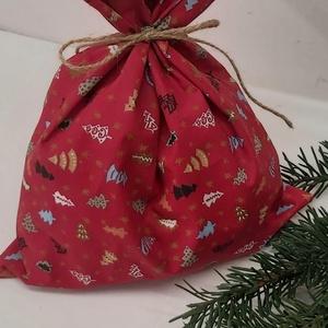 Ajándékzsák, mikulás zsák, textízsák, Karácsony & Mikulás, Karácsonyi csomagolás, Varrás, Pamutvászonból készült ajándékzsák mikulásra, karácsonyra.\nÚjra és újra használható.\nAz ünnepek elmú..., Meska