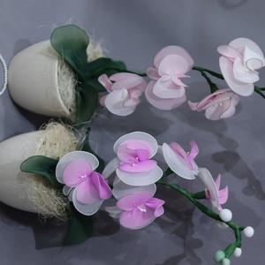 Harisnyavirág orchidea, Otthon & Lakás, Dekoráció, Csokor & Virágdísz, Mindenmás, Harisnyavirág orchideákat készítettem fehér-rózsaszín és lila-rózsaszínben. \nKerámia kaspóba tettem ..., Meska