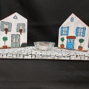 Faházikók, mécsestartó, dekoráció, Karácsony & Mikulás, Karácsonyi dekoráció, Festészet, Mindenmás, Kb 0.5 cm-es fából fűrészeltem ki a dekorációhoz az alapokat. A  házikókat kicsit random módon fűrés..., Meska