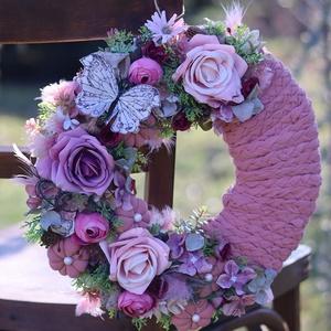 Rózsaszín tavasz, ajtódísz, ablakdísz,, Otthon & Lakás, Dekoráció, Ajtódísz & Kopogtató, Újrahasznosított alapanyagból készült termékek, Mindenmás, Meska