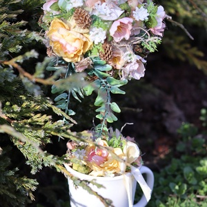 Romantikus virágfa asztaldísz, lakásdekoráció, ajándék, Otthon & Lakás, Asztaldísz, Dekoráció, Egy fehér bögrébe készítettem ezt a romantikus virágfát. Mutatós és tartós dísze lehet otthonodnak. ..., Meska