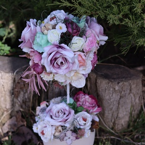 Romantikus virágfa asztaldísz, lakásdekoráció, ajándék, Otthon & Lakás, Dekoráció, Asztaldísz, Egy fehér kerámia kaspóba készítettem ezt a romantikus virágfát. Mutatós és tartós dísze lehet ottho..., Meska