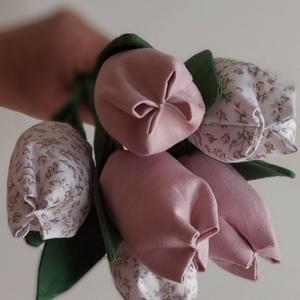 Textíltulipán csokor, tulipán szetz, Otthon & Lakás, Dekoráció, Csokor & Virágdísz, Gyönyörű dísze lehet otthonunknak ez a soha el nem hervadó tulipán csokor, illetve szuper ajándék sz..., Meska