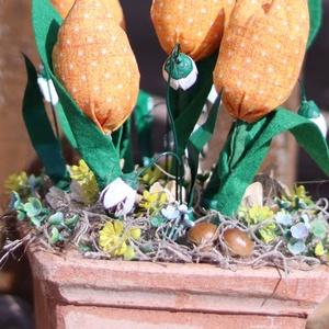 Sárga tulipános kert, asztaldísz, ajándék, dekoráció - otthon & lakás - dekoráció - asztaldísz - Meska.hu