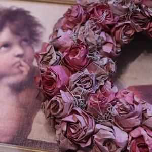 Vintage, shabby chic rózsás ajtódísz, falidísz, Otthon & Lakás, Dekoráció, Ajtódísz & Kopogtató, Mindenmás, Virágkötés, Meska