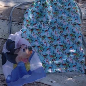 Flamingó mintás tornazsák, hátizsák ajándék szütyővel, Ovi- és sulikezdés, Tornazsák, Gymbag, Varrás, Meska