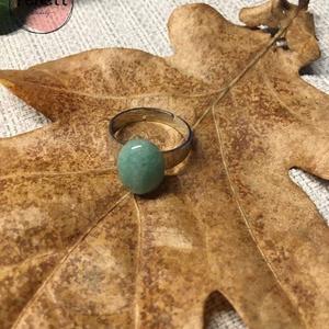 Aventurin, Ékszer, Gyűrű, Ékszerkészítés, Aventurin ásványból készült állítható gyűrű., Meska