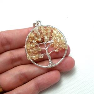 Citrin életfa medál, sárga életfa medál, ásvány életfa medál, ezüstözött életfa medál (PerAnnaEkszer) - Meska.hu