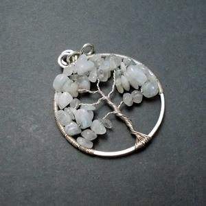 Szivárvány holdkő életfa medál, fehér életfa medál, ásvány életfa medál, ezüstözött életfa medál (PerAnnaEkszer) - Meska.hu