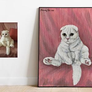 Egyedi cica festmény fényképről, Akril, Festmény, Művészet, Festészet, Egyedi cica festmény fényképről\n\nEgyedi 8-16 munkaórát készülő valódi festmény, ami él, örökre érték..., Meska