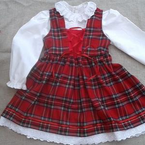 Skót kockás lányka ruha blúzzal, Ruha, Babaruha & Gyerekruha, Ruha & Divat, Varrás, Skót kockás lányka ruha blúzzal, elöl fűzővel szabályozható a bősége.\n74-146-os  méretig készítem.\n1..., Meska