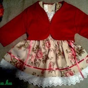 Angol rózsás lányka ruha kabáttal, Ruha, Babaruha & Gyerekruha, Ruha & Divat, Varrás, Angol rózsás lányka ruha kabáttal, kétoldalt fűzővel szabályozható a ruha bősége. \n74-140 méretig ké..., Meska