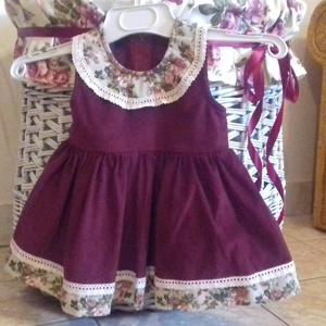 kordbársony bordó lányka ruha (peteryeva) - Meska.hu