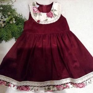 Romantikus kordbársony ruha csipkével, Gyerek & játék, Táska, Divat & Szépség, Ruha, divat, Gyerekruha, Gyerek (1-10 év), Varrás, Romantikus kordbársony ruha alkalomra.Kordbársony az anyaga, rózsás betéttel, és csipkével  díszítve..., Meska