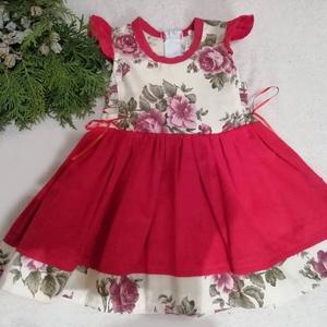 Alkalmi rózsás bársony lányka ruha., Ruha & Divat, Babaruha & Gyerekruha, Ruha, Varrás, Alkalmi bársony lányka ruha gyönyörű rózsás díszítéssel.\n80-140-es méretig készítem., Meska