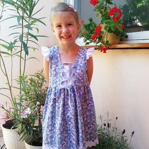 Lenge kék virágos lányka ruha  - Meska.hu