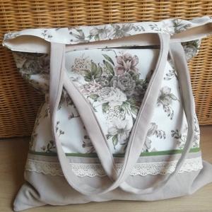 Lenvászon bevásárló táska, belső, külső  zsebbel, béléssel. (peteryeva) - Meska.hu