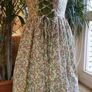 Női hosszú ruha, Ruha & Divat, Női ruha, Ruha, Elől fűzős női hosszú ruha, virágos pamutvászonból.34-42 es méretig készítem méretre, választható an..., Meska