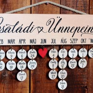 Szülinaptár, családi öröknaptár, szülinapos öröknaptár, családi ünnepek tábla simafából. Garanciával, Otthon & lakás, Lakberendezés, Falikép, Dísz, Naptár, Festett tárgyak, Ez a szülinapos öröknaptár segít abban hogy emlékezz minden egyes születésnapra, névnapra és nyomon ..., Meska