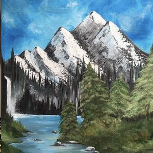 Patak menti séta akril festmény, Művészet, Festmény, Akril, Festett tárgyak, Patak menti séta c. festményemet a természet szeretete és a patak menti hűs, hosszú kirándulások, sé..., Meska