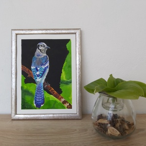 Kék szajkó, Egyéb, Festészet, 20 x 26 cm (A5) méretű akvarell festmény,\n200 grammos papírra festve.\nA képkeret nem képezi ennek az..., Meska