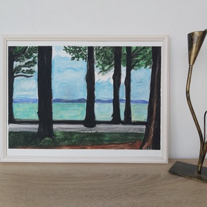 Balaton part - olajpasztell kép, Egyéb, Festészet, A/3 méretben készült kép (30 x 40 cm) olajpasztell krétával.\nA keret nem képezi részét az adásvételn..., Meska