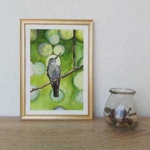 white chested emerald - Madár, Egyéb, Festészet, Egy kedves ismerősöm által fotózott madarat festettem meg akvarellel, A/4 méretben készült el.\nA fot..., Meska