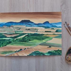 Badacsony (napnyugta), Egyéb, Festészet, 66 cm x 46 cm méretű akril festmény égetett umbra, arany és nápolyi napsárga színek felhasználásával..., Meska