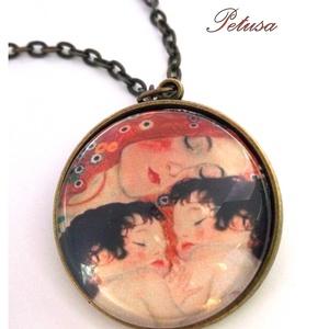 Klimt Anya gyermekével nyaklánc Művészi, Ékszer, Nyaklánc, Medálos nyaklánc, Ékszerkészítés, Klimt bensőséges hangulatú Anya gyermekével című festményének képével készítettem ezt a nyakláncot. ..., Meska