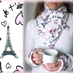 Sál kesztyű szett Párizs Városi séta Körsál Nyakmelegítő, Ruha & Divat, Sál, Sapka, Kendő, Sál, Varrás, Sál kesztyű szett\n\nKávéházi hangulat\n\nNagyon szép, fehér alapon jellegzetes Párizs mintájú, kellemes..., Meska