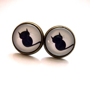 Cicás fülbevaló fekete cica macska  (Petusa) - Meska.hu