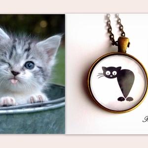 Macska Cica nyaklánc Macskás Cicás Fekete Fehér, Ékszer, Nyaklánc, Medálos nyaklánc, A  macskák nagy kedvenceim, sok szeretetet adnak, ha szeretetet kapnak...Egyetértek Leonardo da Vinc..., Meska