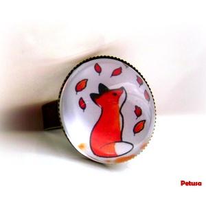 Rókás gyűrű róka kis herceg üveglencsés, Ékszer, Gyűrű, Üveglencsés gyűrű, Ékszerkészítés, Meska