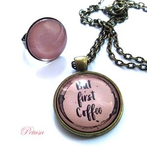 Kávé nyaklánc gyűrű szett Kávés Coffee, Ékszer, Ékszerszett, Ékszerkészítés, Meska