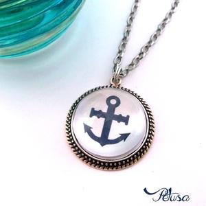 Horgonyos nyaklánc tengerész matróz kék fehér, Esküvő, Ékszer, Fülbevaló, Ékszerkészítés, Gyöngyfűzés, gyöngyhímzés, Horgonyos Tengerész Nyári nyaklánc Matróz stílusban\n\nKék fehér színösszeállításban készítettem ezt a..., Meska