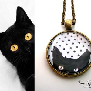 Cicás macskás nyaklánc pöttyös fekete fehér, Ékszer, Medálos nyaklánc, Nyaklánc, Ékszerkészítés, Meska