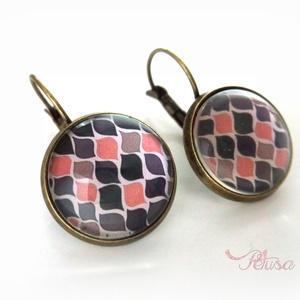 Rózsaszín szürke mintás nyaklánc fülbevaló szett őszi üveglencsés modern, Ékszer, Ékszerszett, Fülbevaló, Nyaklánc, Ékszerkészítés, Őszi színek cseppek Modern, őszies, vidám mintás fülbevalót készítettem. Színei barackos rózsaszín,..., Meska